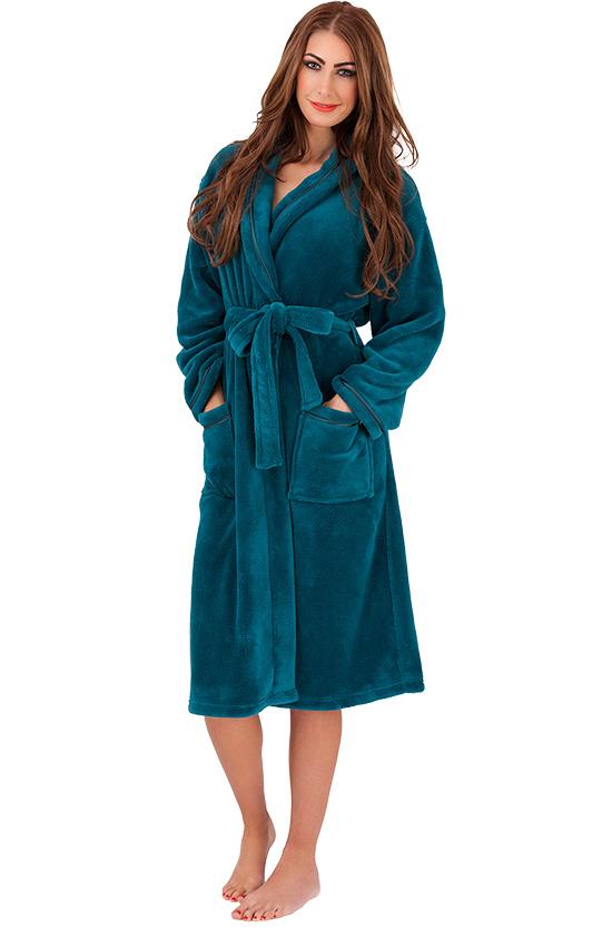 weicher flauschiger damen bademantel morgenmantel sauna saunamantel wellness ebay. Black Bedroom Furniture Sets. Home Design Ideas